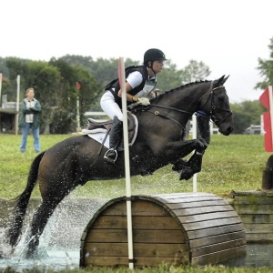 Trubie and Stephanie in the prelim water at Seneca. Stephanie is wearing her Asmar Equestrian Polo